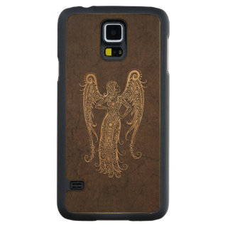 Rustic Virgo Zodiac Sign on Stone Effect Carved® Maple Galaxy S5 Case