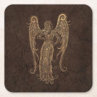 Rustic Virgo Zodiac Sign on Stone Effect Square Paper Coaster