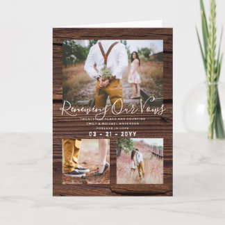 Rustic Vow Renewal Anniversary Photo Collage Card