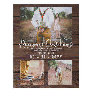 Rustic Vow Renewal Anniversary Photo Gift Idea Faux Canvas Print