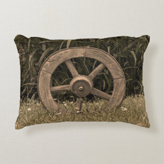 Rustic Wagon Wheel Accent Pillow