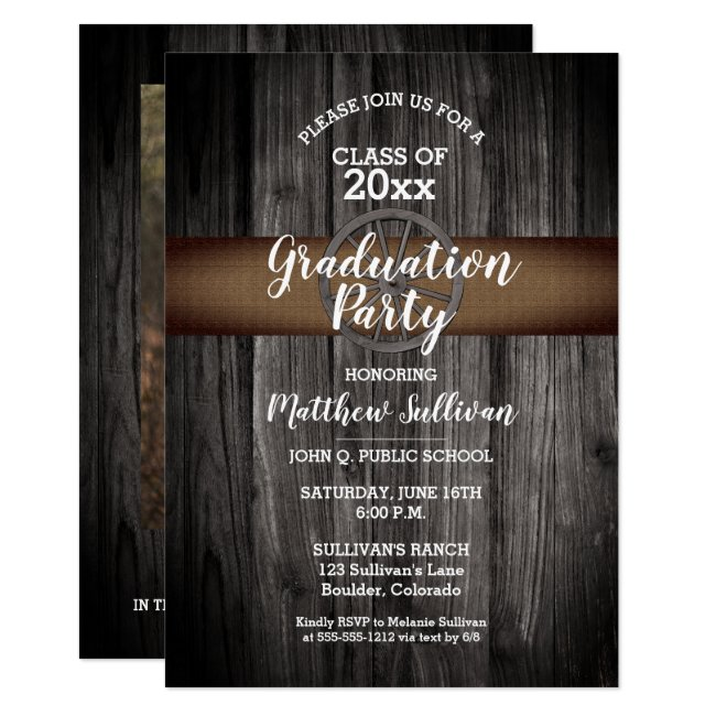 Rustic Wagon Wheel Class of 2020 Graduation Party Invitation