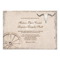 Rustic Wagon Wheel Longhorn Cowboy Wedding Invitation