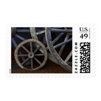 Rustic Wagon Wheels On Movie Set, Cuba Stamps