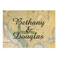 Rustic Washington DC Map Wedding Invitation