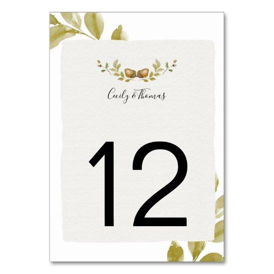 Rustic Watercolor Acorns and Oak Leaves | Table Number