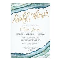 Rustic Watercolor Agate Bridal Shower Invite