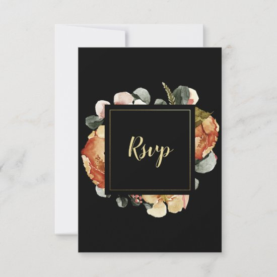 Rustic Watercolor Autumn Fall Flowers on Black RSVP Card