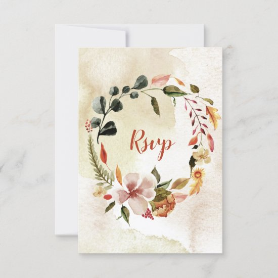 Rustic Watercolor Autumn Fall Flowers RSVP