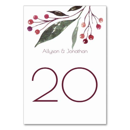 Rustic Watercolor Berries Leaves Table Cards