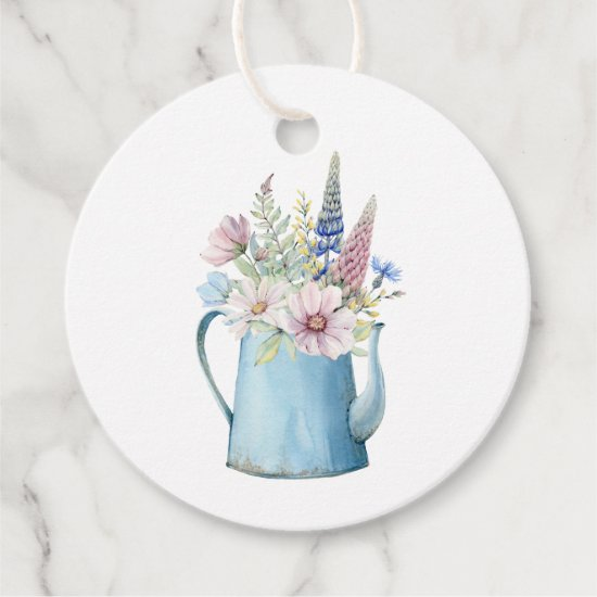 Rustic Watercolor Blue Coffee Pot Flowers Favor Tags