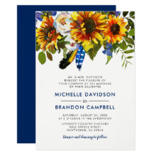 Rustic Watercolor Blue Sunflower Formal Wedding