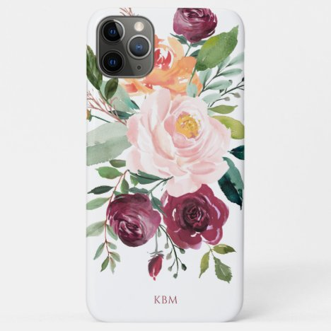 Rustic Watercolor Botanical with Monogram iPhone 11 Pro Max Case