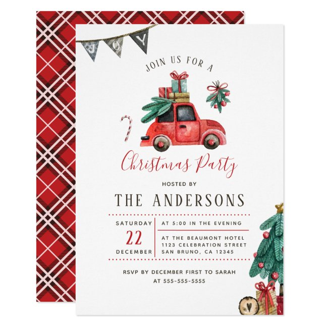 Rustic Watercolor Car Christmas Tree Holiday Party Invitation