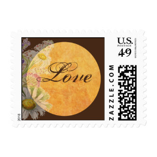Rustic Watercolor Daisies on Parchment Postage Stamp