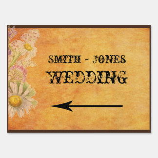 Rustic Watercolor Daisies Wedding Direction Sign