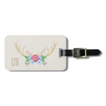 Rustic Watercolor Deer Antlers with Flowers Bag Tag