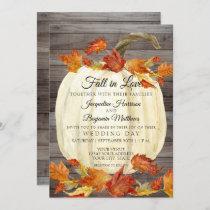 Rustic Watercolor Fall Leaves Pumpkin Dark Wood Invitation