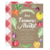 Rustic  Watercolor Farmers Market Birthday Party Invitation