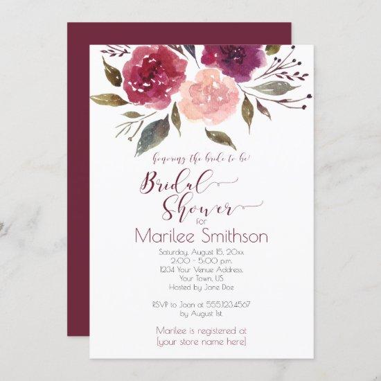 Rustic Watercolor Floral Bridal Shower   Invitation