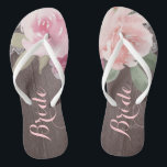"""Rustic watercolor floral bride wedding flip flops<br><div class=""""desc"""">Romantic hand-drawn watercolor pastel pink and peach roses floral design with white vintage lace on rustic wood grain background. Chic and elegant,  great flip flop for bride in vintage wedding,  rustic wedding or country wedding in spring. See all the matching pieces in collection below.</div>"""