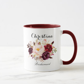 Rustic Watercolor Floral Bridesmaid Mug