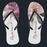 875f2c972756 Rustic watercolor floral bridesmaid wedding flip flops br  div class