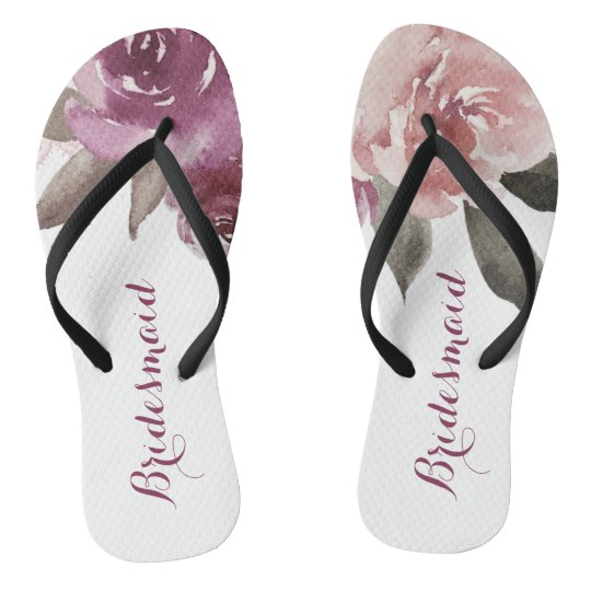 e2419ca02183 Rustic watercolor floral bridesmaid wedding flip flops