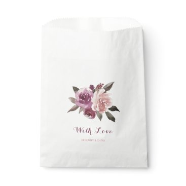 Beach Themed Rustic watercolor floral fall wedding favor bag