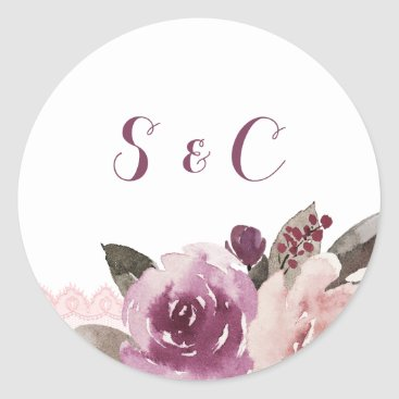 Beach Themed Rustic watercolor floral fall wedding monogram classic round sticker