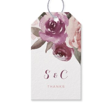 Beach Themed Rustic watercolor floral fall wedding monogram gift tags