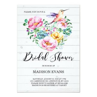 Rustic Watercolor Floral Hummingbird Bridal Shower Card