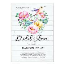 Rustic Watercolor Floral Hummingbird Bridal Shower Invitation