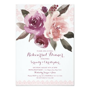 Beach Themed Rustic watercolor floral lace rehearsal dinner card