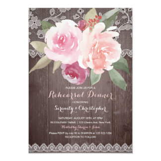 Rustic watercolor floral lace rehearsal dinner card