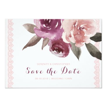 Beach Themed Rustic watercolor floral lace save the date card