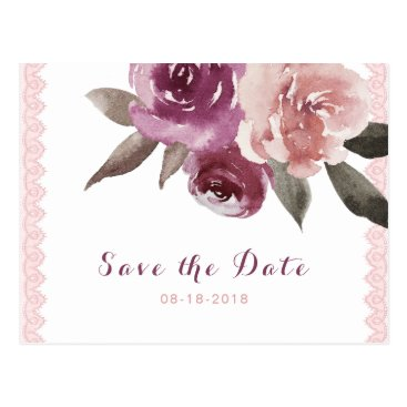 Beach Themed Rustic watercolor floral lace save the date postcard