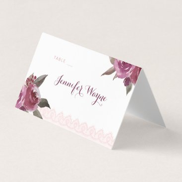 Beach Themed Rustic watercolor floral lace Wedding place cards