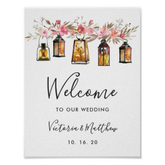 Rustic Watercolor Floral Lantern Wedding Welcome Poster
