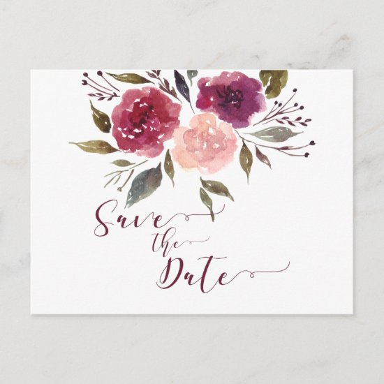 Rustic Watercolor Floral Save The Date | Announcement Postcard