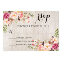 Rustic Watercolor Floral Wedding RSVP/no meal2 Card