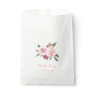 Beach Themed Rustic watercolor floral with love wedding favor bag