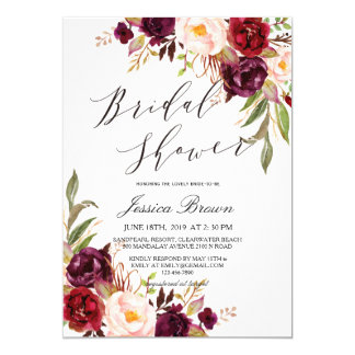 Rustic Watercolor Floral Wreath Bridal Shower Card
