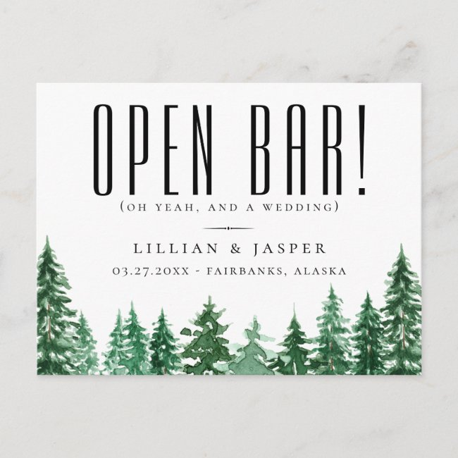 Rustic Watercolor Forest Open Bar Save the Date Announcement Postcard