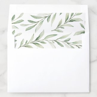 Rustic watercolor greenery wedding envelope liner