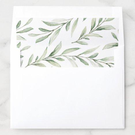 Rustic watercolor greenery wedding envelope liner