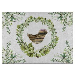 Rustic Watercolor Herbal Glass Cutting Board