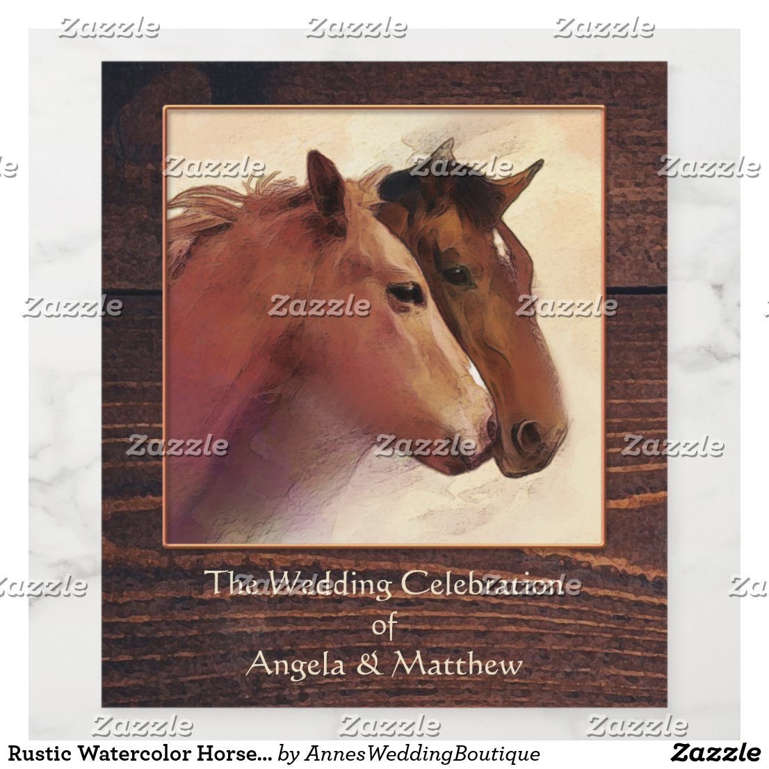 Rustic Watercolor Horses Wedding Wine Label