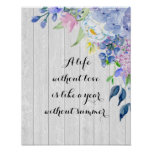 Rustic Watercolor Hydrangeas with Summer Quote Poster
