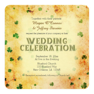 Rustic watercolor Irish shamrocks Card